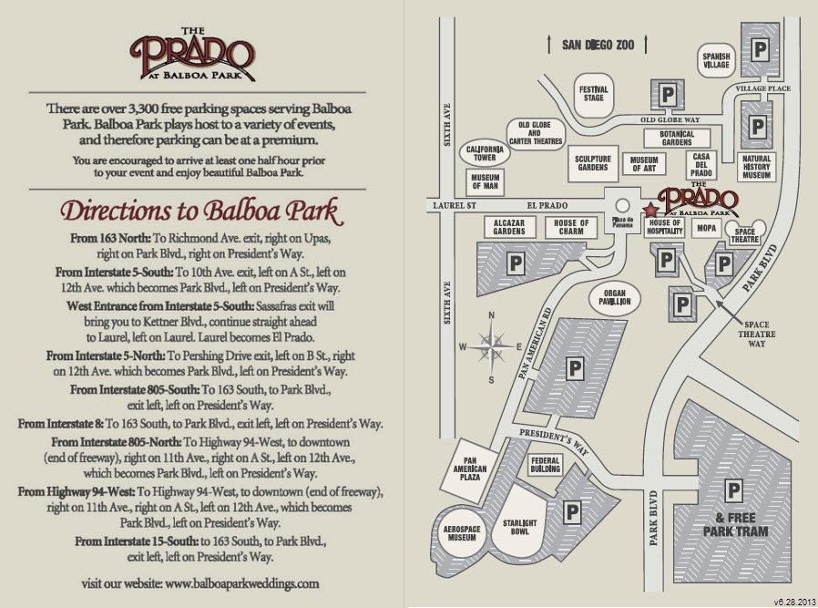 Get Directions The Prado at Balboa Park Event and Banquet Center